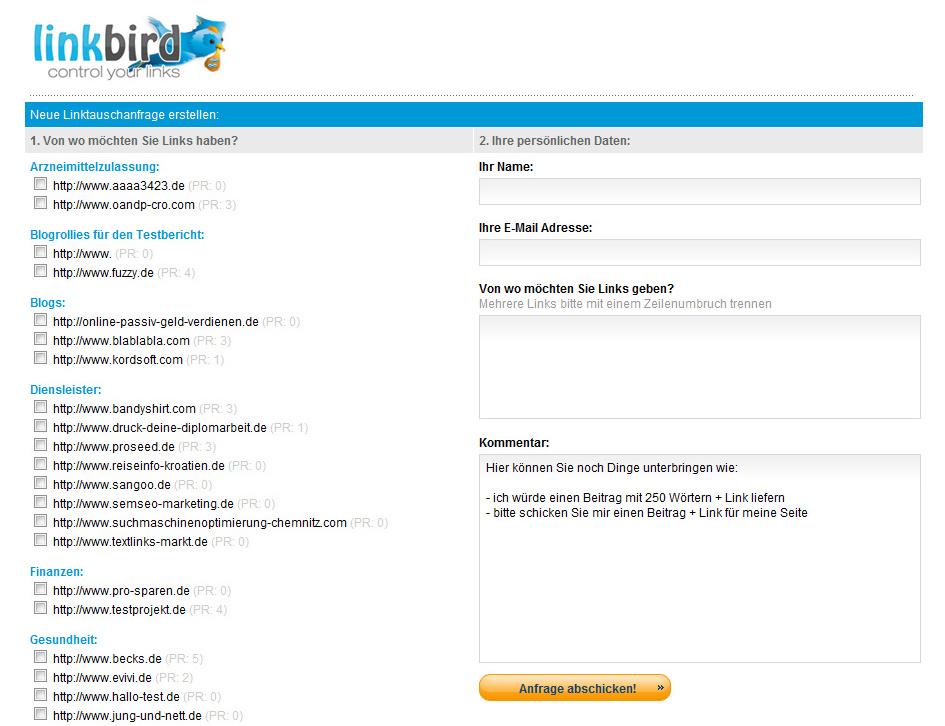 Linkbird Tool für Linktauschanfragen