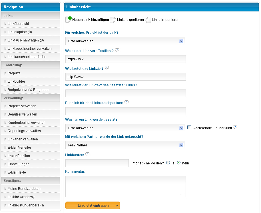 Linkbird Navigation und Projekte anlegen